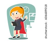 super businesswoman holding... | Shutterstock .eps vector #606689018