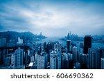 view of victoria harbor in hong ... | Shutterstock . vector #606690362