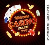 welcome online casino concept... | Shutterstock .eps vector #606692456