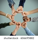 group of people fist bump... | Shutterstock . vector #606695882