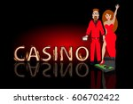 poker win a pair of lovers.... | Shutterstock .eps vector #606702422