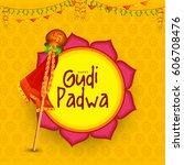 gudi padwa celebration greeting ...   Shutterstock .eps vector #606708476