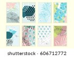 universal floral posters set.... | Shutterstock .eps vector #606712772