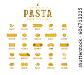 set of icons varieties of pasta.... | Shutterstock .eps vector #606713225