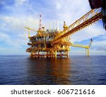 oil and gas platform in the... | Shutterstock . vector #606721616