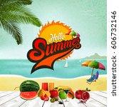 hello summer logo  summer time  ... | Shutterstock .eps vector #606732146
