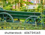 rural style fence  green...   Shutterstock . vector #606734165