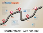 design template  road map... | Shutterstock .eps vector #606735602