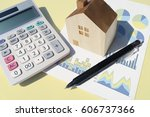calculator home pen graph yellow | Shutterstock . vector #606737366