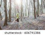 runner is running through misty ...   Shutterstock . vector #606741386