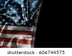 usa flag background with... | Shutterstock . vector #606744575