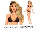 stylish beautiful model... | Shutterstock .eps vector #606747092