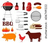 bbq set of grill objects and... | Shutterstock .eps vector #606749222