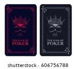 skull poker card vector... | Shutterstock .eps vector #606756788