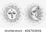 sun and moon with face stylized ... | Shutterstock .eps vector #606763646
