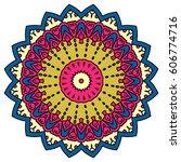 mandala. vector ethnic oriental ... | Shutterstock .eps vector #606774716