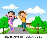 back to school   happy kids...   Shutterstock . vector #606777116