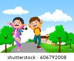 back to school   happy kids... | Shutterstock .eps vector #606792008