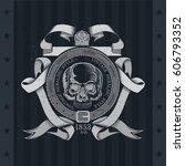 skull front view in center of... | Shutterstock .eps vector #606793352