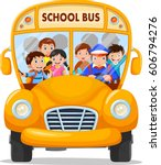 school kids riding a school bus | Shutterstock .eps vector #606794276