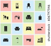 set of 16 editable furnishings... | Shutterstock .eps vector #606797546