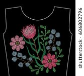 embroidery stitches with protea ... | Shutterstock .eps vector #606802796