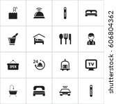 set of 16 editable travel icons.... | Shutterstock .eps vector #606804362