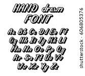 handwritten lettering font... | Shutterstock .eps vector #606805376