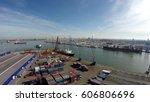 aerial flight above harbor... | Shutterstock . vector #606806696