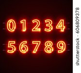 Neon Red City Font Numbers Set...