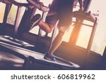 people running in machine... | Shutterstock . vector #606819962