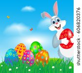 easter greeting card with...   Shutterstock .eps vector #606820376