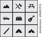 set of 9 editable camping icons.... | Shutterstock . vector #606821912