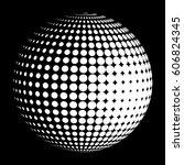 vector halftone sphere stylized ...   Shutterstock .eps vector #606824345