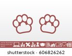 paw icon vector. | Shutterstock .eps vector #606826262