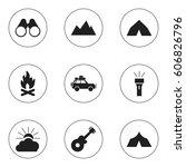 set of 9 editable travel icons. ... | Shutterstock . vector #606826796