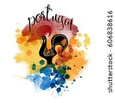 portugal. hand drawn watercolor ... | Shutterstock .eps vector #606838616