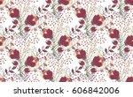 floral seamless pattern. hand... | Shutterstock .eps vector #606842006