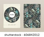 cover design with floral... | Shutterstock .eps vector #606842012