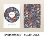cover design with floral... | Shutterstock .eps vector #606842066