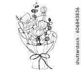 hand drawn flowers. vector... | Shutterstock .eps vector #606843836