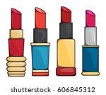 set of colorful lip sticks ... | Shutterstock .eps vector #606845312