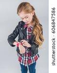 adorable pensive little girl... | Shutterstock . vector #606847586