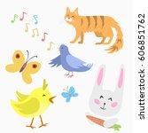 spring natural floral symbols... | Shutterstock .eps vector #606851762