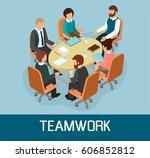 business meeting concept... | Shutterstock .eps vector #606852812