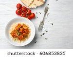 plate with tasty chicken tikka...   Shutterstock . vector #606853835