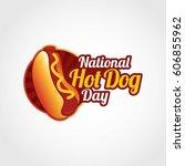 national hotdog day vector... | Shutterstock .eps vector #606855962