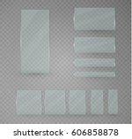 set of glass plates. vector... | Shutterstock .eps vector #606858878
