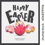 happy easter day  vector... | Shutterstock .eps vector #606859946