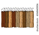 old wood fence with barbed wire.... | Shutterstock .eps vector #606860006